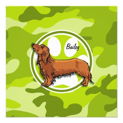 Dachshund; bright green camo, camouflage personalized invitation