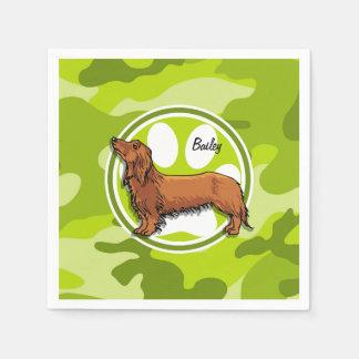 Dachshund; bright green camo, camouflage disposable napkin