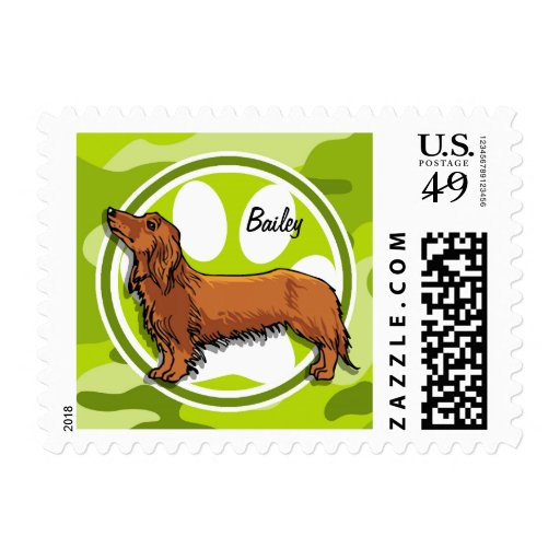 Dachshund; bright green camo, camouflage postage stamps