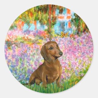Dachshund (brown1) - Garden Classic Round Sticker