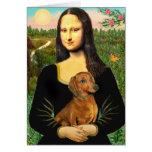 Dachshund (brown1) - Mona Lisa Greeting Card