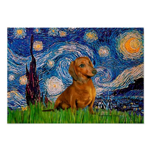 Dachshund (Brown1) - Starry Night Poster