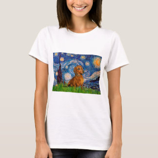 Dachshund (Brown1) - Starry Night T-Shirt