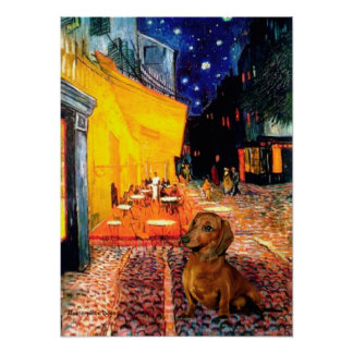Dachshund (brown1) - Terrace Cafe Poster