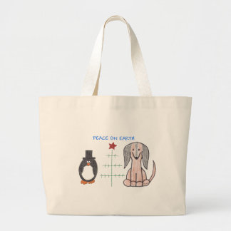 Dachshund Brown Peace On Earth Large Tote Bag