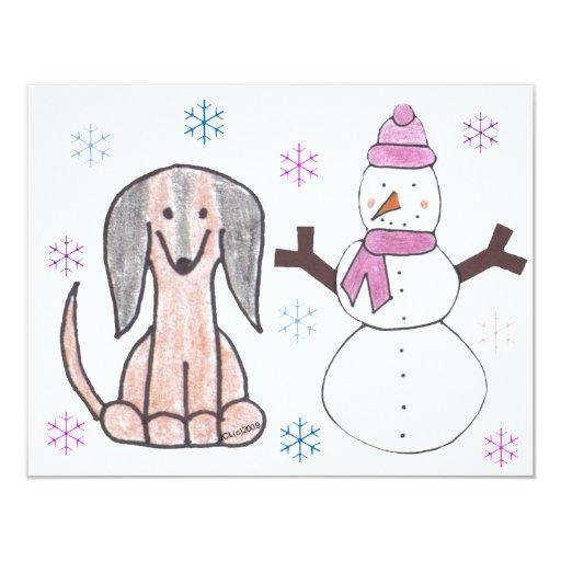 Dachshund Brown & Snowman 4.25x5.5 Paper Invitation Card