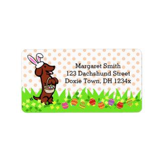Dachshund cabelludo liso rojo del huevo de Pascua Etiquetas De Dirección