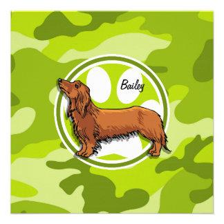 Dachshund camo verde claro camuflaje invitacion personalizada