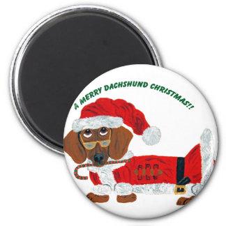 Dachshund Candy Cane Santa 2 Inch Round Magnet