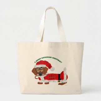 Dachshund Candy Cane Santa Canvas Bags