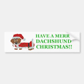 Dachshund Candy Cane Santa Car Bumper Sticker