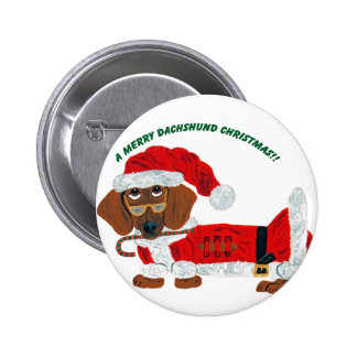 Dachshund Candy Cane Santa Pinback Buttons