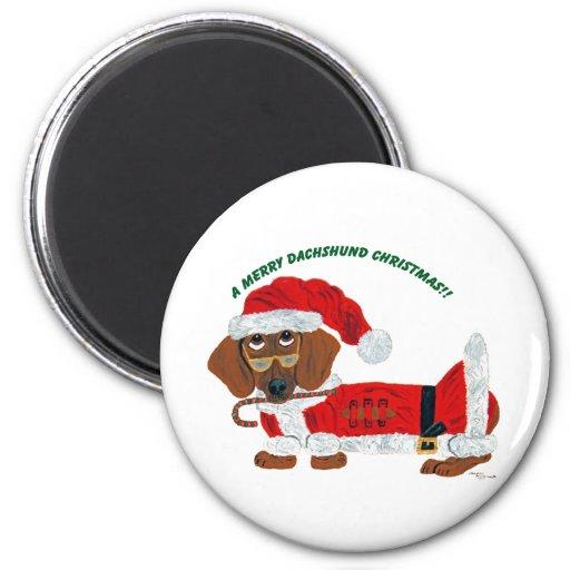 Dachshund Candy Cane Santa Fridge Magnets