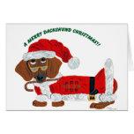 Dachshund Candy Cane Santa Greeting Card