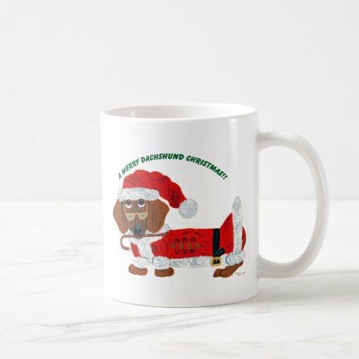 Dachshund Candy Cane Santa Mugs