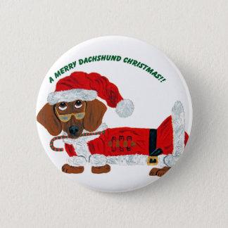 Dachshund Candy Cane Santa Pinback Button
