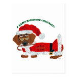 Dachshund Candy Cane Santa Post Card