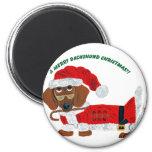 Dachshund Candy Cane Santa Refrigerator Magnets