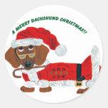 Dachshund Candy Cane Santa Round Stickers