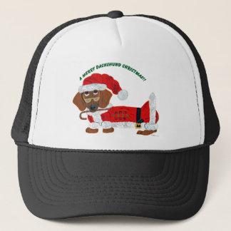 Dachshund Candy Cane Santa Trucker Hat