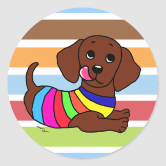 Dachshund Cartoon 1 Colorful Stripes Classic Round Sticker
