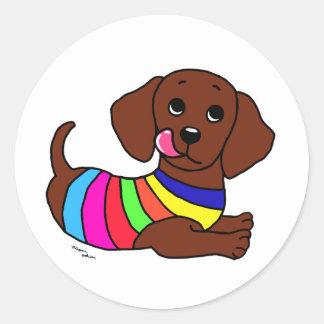 Dachshund Cartoon 1 Round Sticker