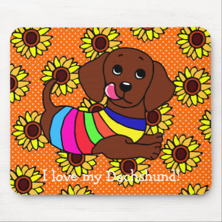 Dachshund Cartoon 1 Sunflowers Mouse Pad