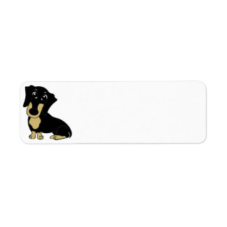 dachshund cartoon black and tan label