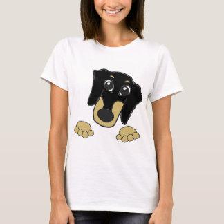 dachshund cartoon black and tan peeking T-Shirt