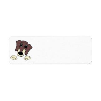 dachshund cartoon chocolate and cream peeking label