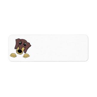 dachshund cartoon chocolate and tan peeking label
