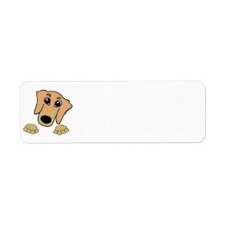dachshund cartoon fawn and tan peeking label