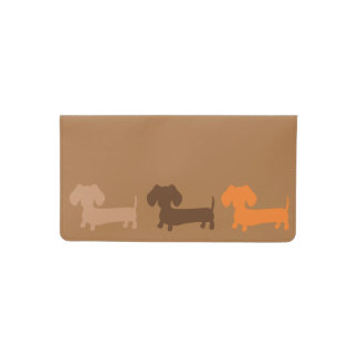 Dachshund Checkbook Cover Browns for Men or Women