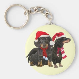 Dachshund Christmas Art on Gifts Keychain