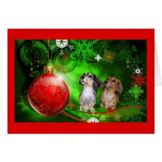 Dachshund Christmas Card Red Ball Green1
