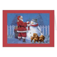 Dachshund Christmas Card Santa Snowman at Zazzle