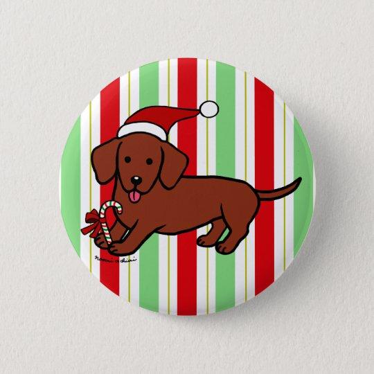 Dachshund Christmas Cartoon Button
