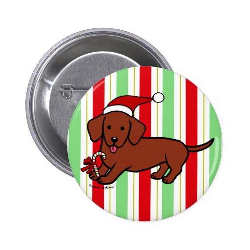 Dachshund Christmas Cartoon Pinback Buttons