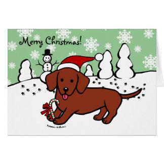 Dachshund Christmas Cartoon Card