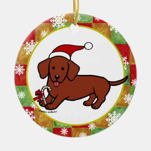 Dachshund christmas cartoon ornament zazzle