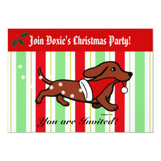 Dachshund Christmas Cartoon Party Card