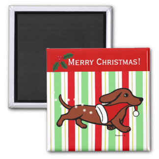 Dachshund Christmas Cartoon Snowflakes 2 Inch Square Magnet