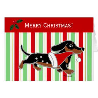 Dachshund Christmas Cartoon Snowflakes Card