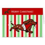 Dachshund Christmas Cartoon Snowflakes Cards