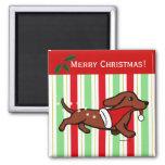 Dachshund Christmas Cartoon Snowflakes Refrigerator Magnets