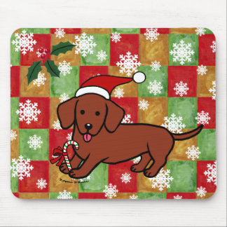 Dachshund Christmas Cartoon Snowflakes Mouse Pad
