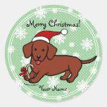 Dachshund Christmas Cartoon Snowflakes Sticker
