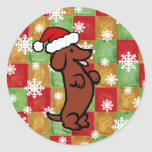 Dachshund Christmas Cartoon Snowflakes Stickers
