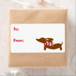 """Dachshund Christmas Gift Tag Sticky Labels<br><div class=""""desc"""">Doxie fun and love.</div>"""