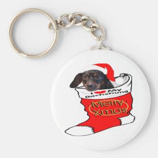 Dachshund Christmas Keychain